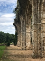 The simplicity of Cistercian design is apparent in the modest banding at the spring of the piers. The Abbaye was stolen from the Monks during the French Revolution. The property sold to be demolished by the State of France.