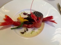Prawn with caviar and comb of squid ink, umm